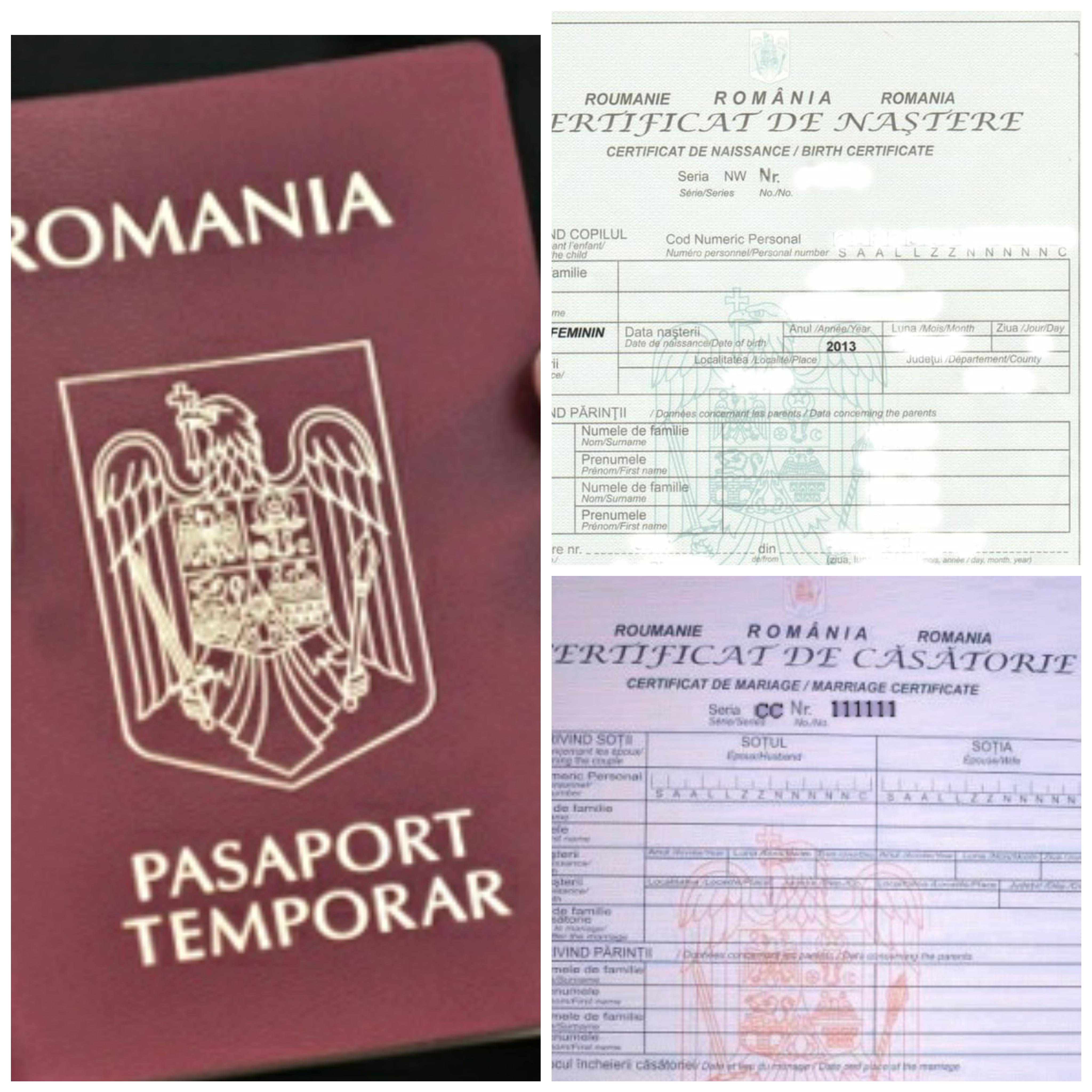 Transcriere acte stare civila/pasapoarte temporare minori