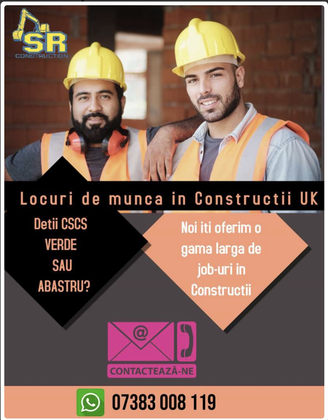 Oferte job-uri in Constructii UK