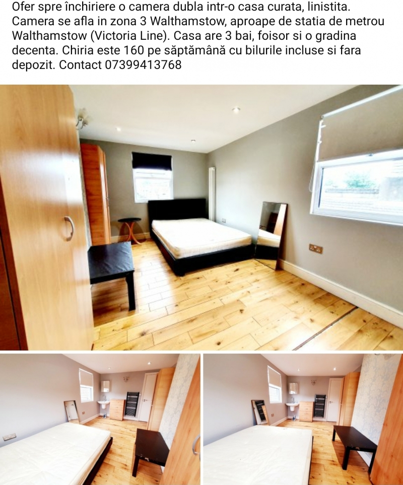 Ofer 3 camere duble in Walthamstow